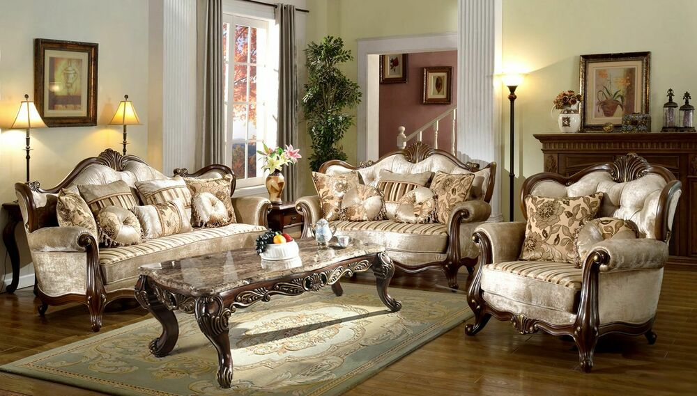 French Provincial Formal Antique Style Living Room Furniture Set - formal living room chairs