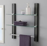 Bathroom Shelf Organizer Glass Towel Rack Bar Wall Mounted ...