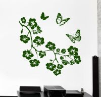 Wall Vinyl Decal Flower Branch Tree Butterfly Nature ...