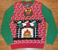 Ugly Christmas Sweater Brick Fireplace with Wreath Men's ...