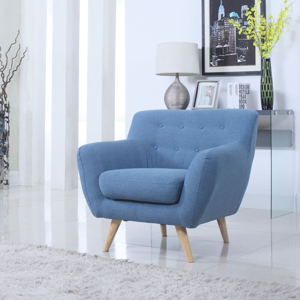 Mid Century Blue Modern Tufted Button Accent Chair Living