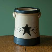 Ceramic Star and Berry Canister - Crock Utensil Holder ...