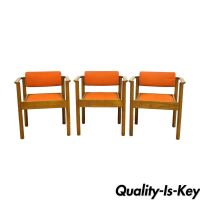 3 Vintage Kimball Mid Century Modern Oak Stacking Dining ...
