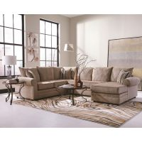 BIG CREAM CHENILLE HERRINGBONE SOFA SECTIONAL CHAISE ...