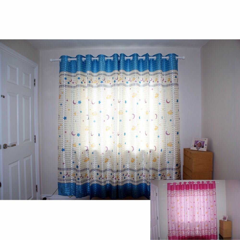 Boys Nursery Curtains A Pair Of Girls Boys Nursery Ring Top Star Moon Design Curtains Tie Backs Ebay