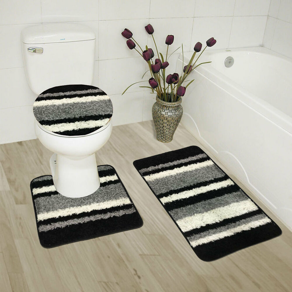 Abby 3 Piece Bathroom Rug Set Bath Rug Contour Rug Lid