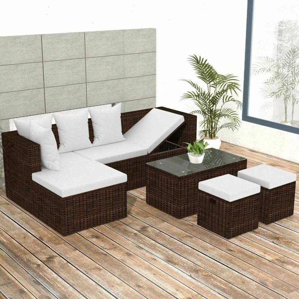 Rattan Sofa Corner Set Vidaxl Garden Sofa Set Poly Rattan Brown Wicker Corner Couch Furniture Seat Ebay