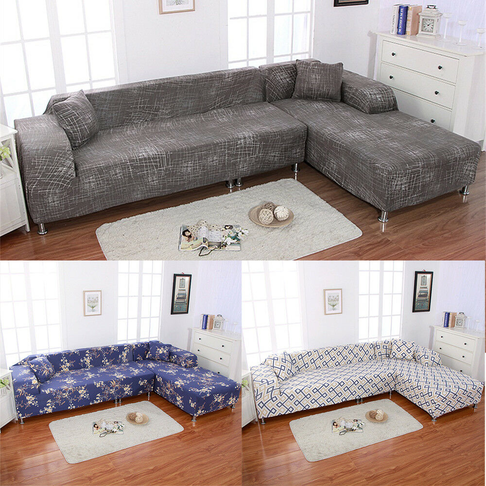 Quality Sofa Covers Sofa Covers L Shape 2pcs Polyester Fabric Stretch Slipcovers For