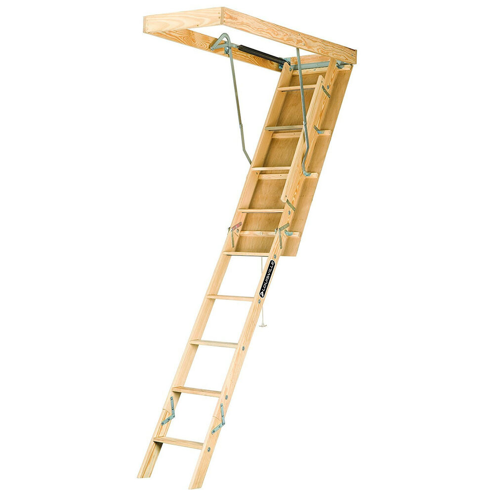 Pull Down Stairs For Loft Wooden Attic Ladder Pull Down Folding Stair Way Home Loft 7ft To 8ft9in 250lb 683121442074 Ebay