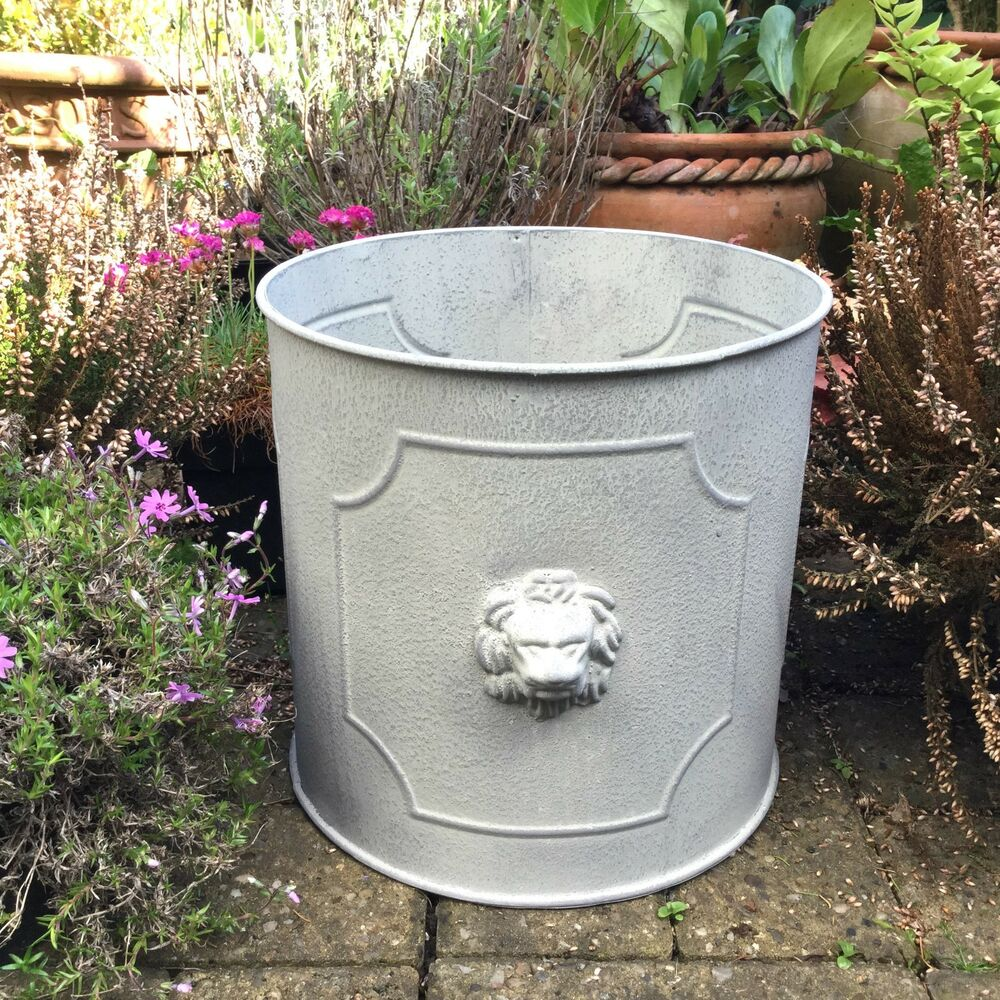 Planter Lys En Pot Large Vintage Country Style Metal Garden Planter Tub Round Flower Pot Barrel Ebay