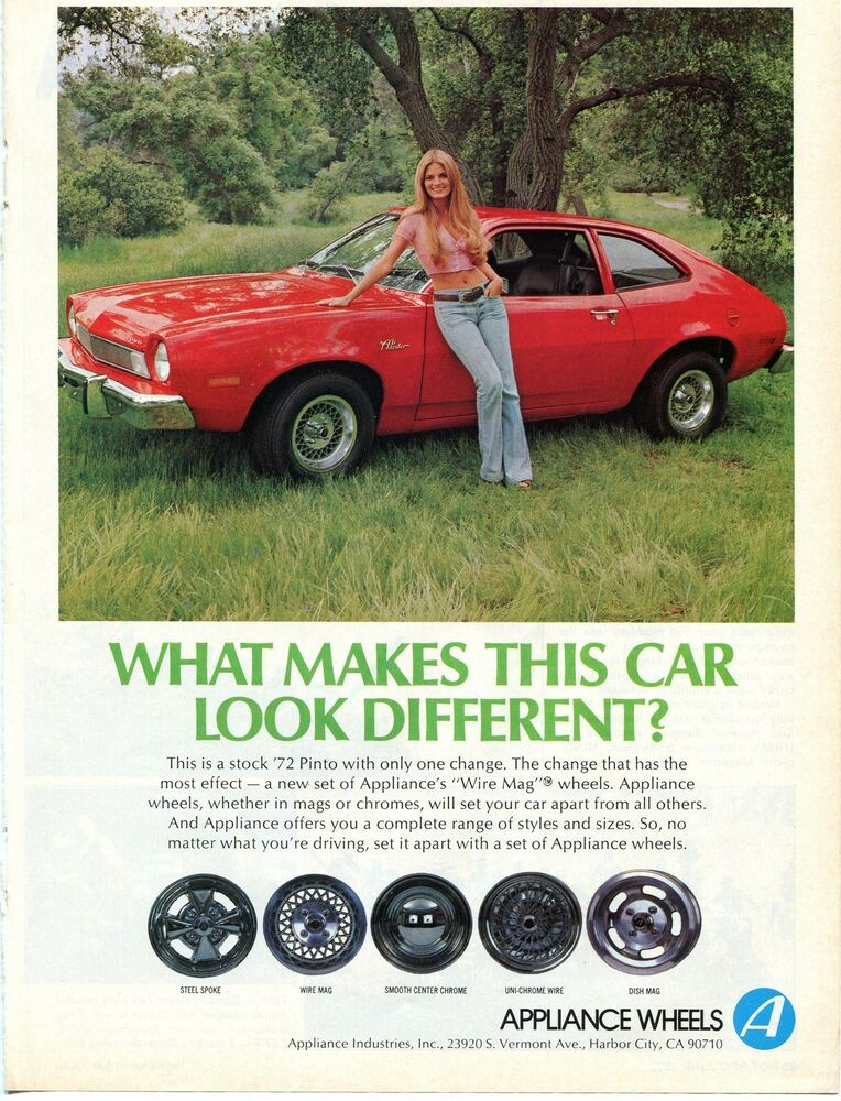 1974 Print Ad of Appliance Wire Mag Wheels on 1972 Ford Pinto w