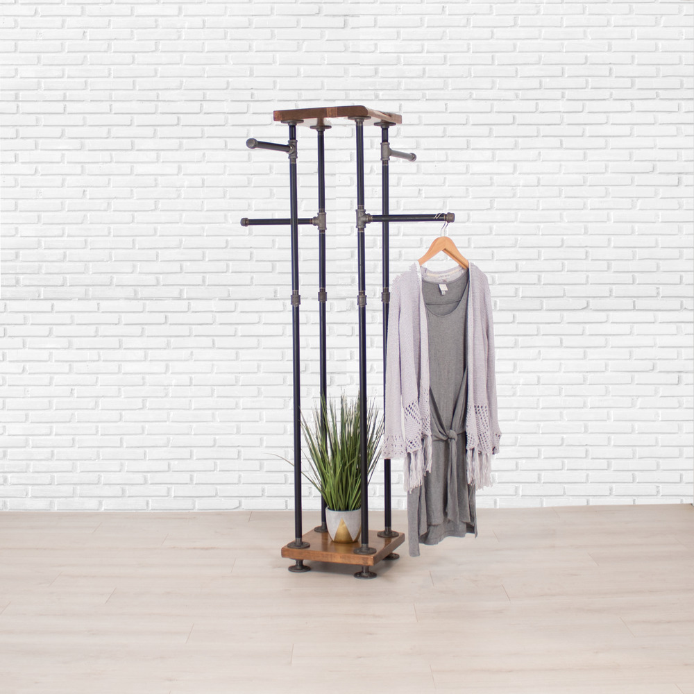 Industrial Clothing Rack Industrial Pipe And Wood Shelf Clothes Rack 4 Way Garment Rack Clothing Rack Ebay