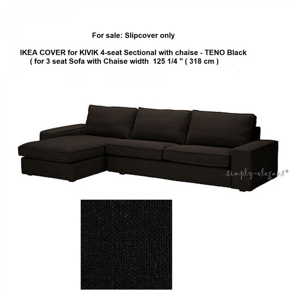 Kivik Sectional Ikea Cover For Ikea Kivik 4 Seat Sectional Sofa With Chaise Longue Teno Black Ebay