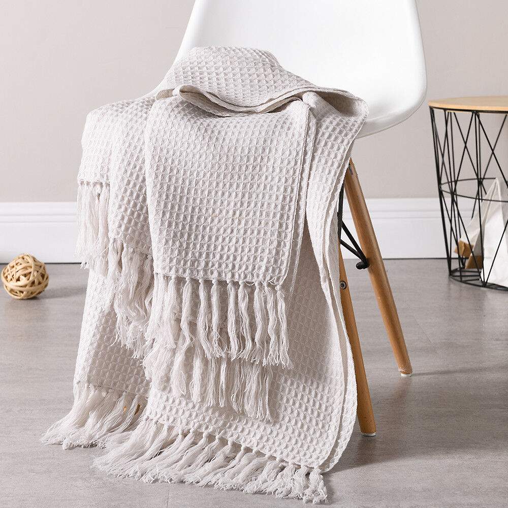 Sofa Throws Knitted 51x63 Soft Knitted Throw Blanket Bed Sofa Couch Decorative Fringe Waffle Pattern Ebay