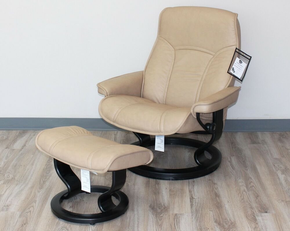 Stressless-world.com Showroom Stressless Governor Large Recliner Chair Ottoman Paloma Sand Leather Ebay