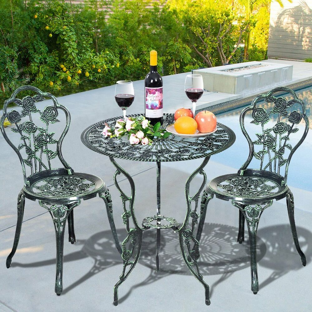 Round Table Patio Furniture Sets Patio Furniture Set Pool Balcony Deck Bistro 3pc Outdoor Table 2 Chairs Rose Bar Ebay