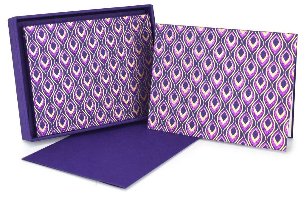The Gift Wrap Company Purple Mini Feather Note Cards, Set of 8