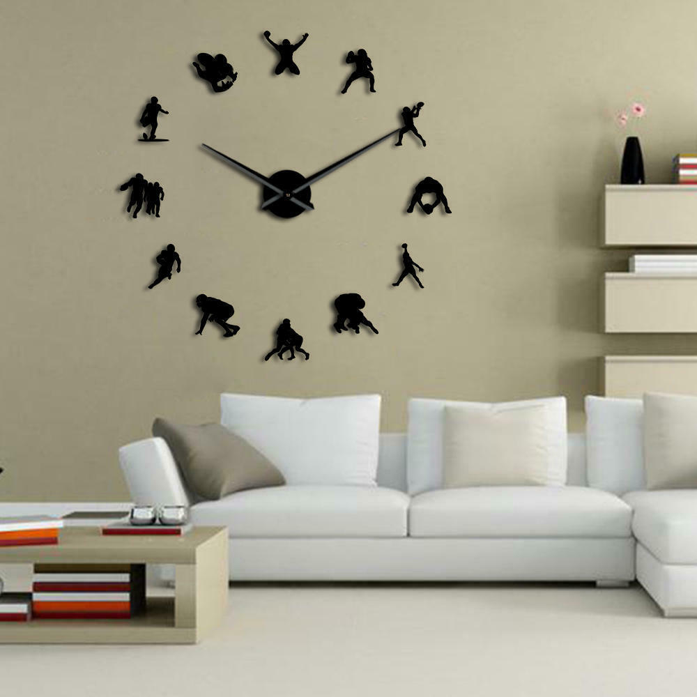Frameless Mirror Canada American Football Giant Diy Large Wall Clock Frameless Mirror Effect Home Decor Ebay