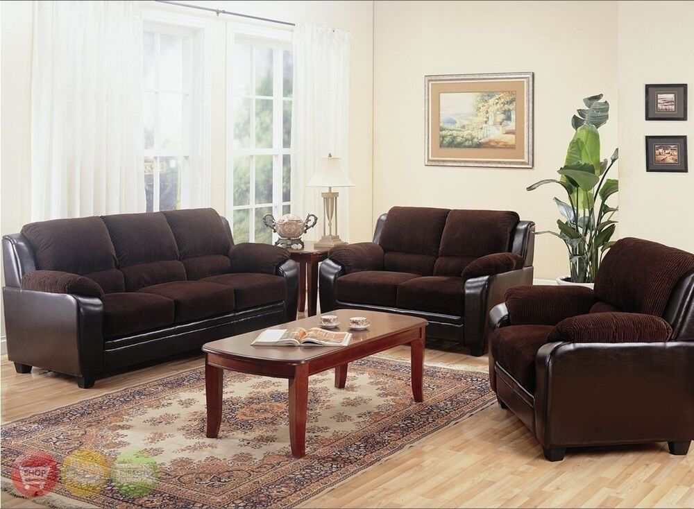 Living Room Sofas Sets Monika Chocolate Sofa, Loveseat & Chair Casual 3 Piece