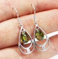 Pretty Solid 925 Sterling Silver & Peridot Drop / Dangle