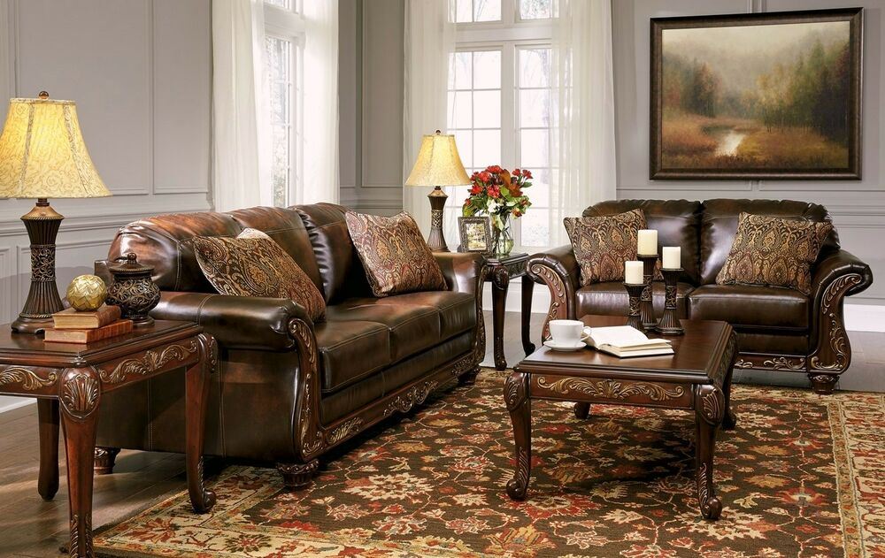 Living Room Sofas Sets Vanceton Mocha Brown Leather Traditional Wood Sofa
