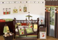 NATURE ANIMAL WOODLAND THEMED GREEN BROWN 9p BABY BOY CRIB ...