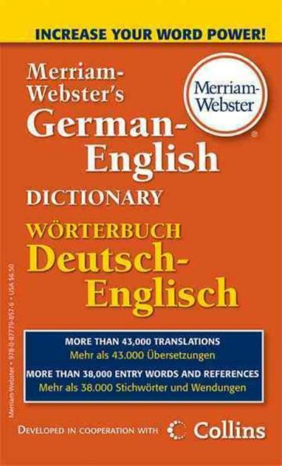 MERRIAM-WEBSTER'S GERMAN-ENGLISH DICTIONARY - MERRIAM-WEBSTER (PAPERBACK) NEW 877798575 | eBay