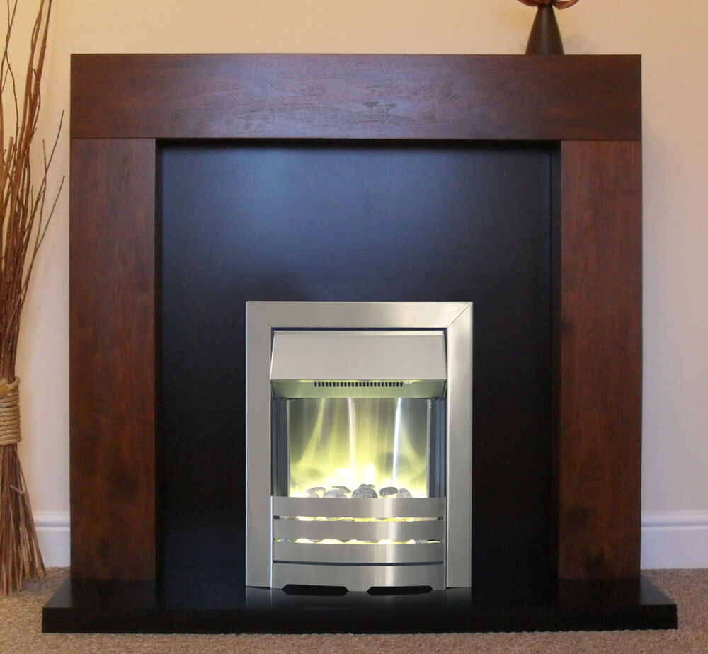 Electric Walnut Mango Surround Black Stone Fire Downlights