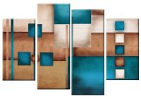 LARGE TEAL BEIGE CREAM ABSTRACT CANVAS WALL ART PICTURE ...