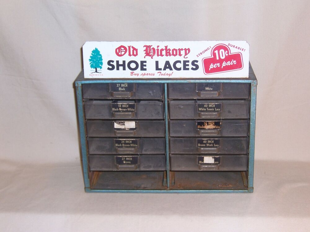 Vintage Old Hickory Shoe Lace Store Countertop Display