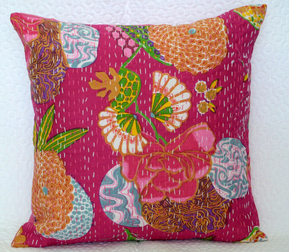 Pink Cushion Cover Kantha Stitch Pillow Case Floral