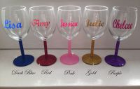 Personalised Glitter Wine Glass - Mother's Day, Wedding ...