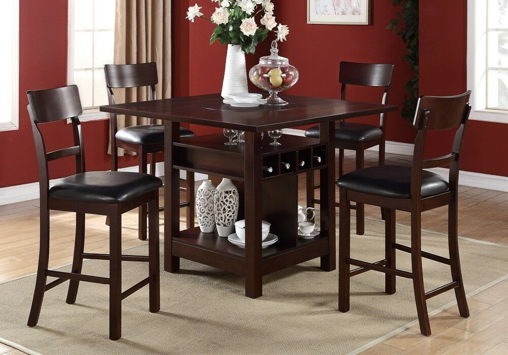 5 Pcs Counter Height Dining Set Built In Lazy Susan Table