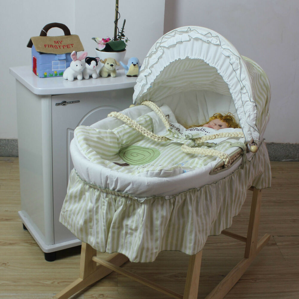 Green Baby Carrier Moses Basket Bassinet W Rocking Stand