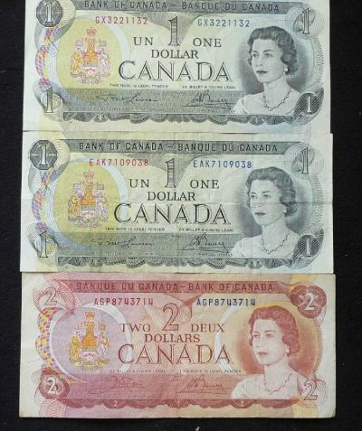 BANK OF CANADA (2) ONE DOLLAR NOTES & (1) TWO DOLLAR NOTE (SEE PICTURES) | eBay