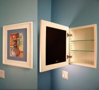 recessed medicine cabinet w/ picture frame door, no mirror