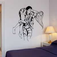 Wall Stickers Couple in Love Romantic Bedroom Decor Mural ...