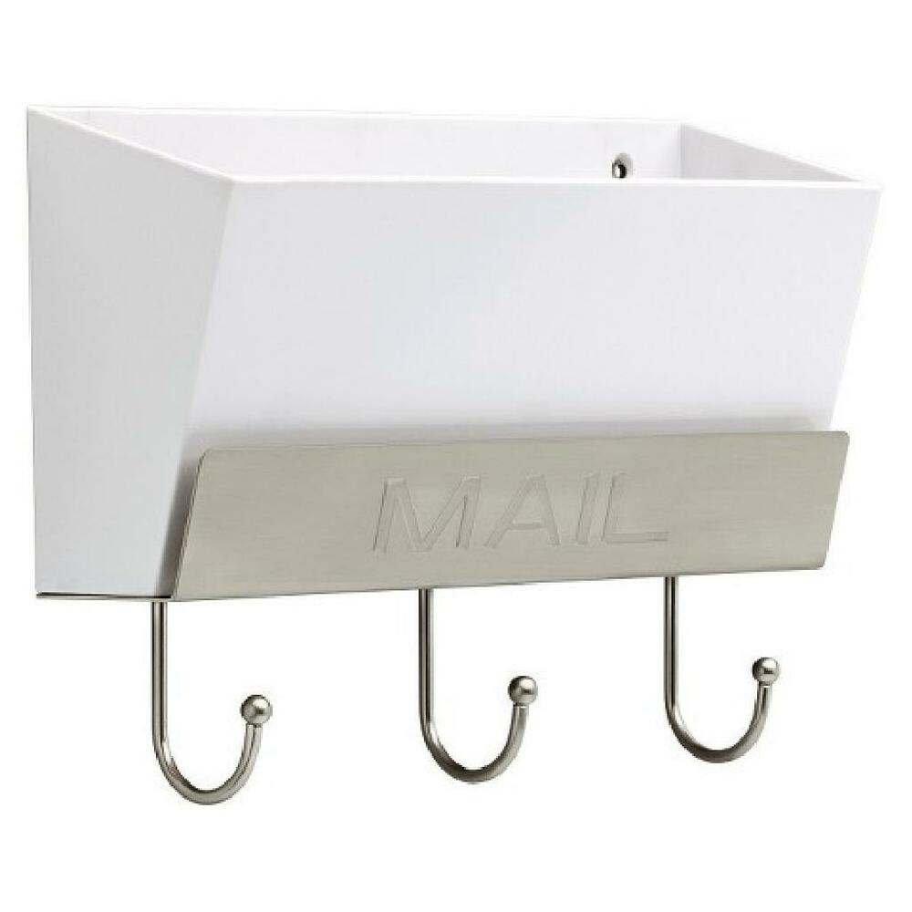 Thresholdtm Classic Mail Holder White Satin Nickel W Key