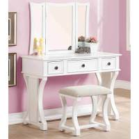 Tri Folding Mirror Curved Lines Vanity Makeup Table Bench ...