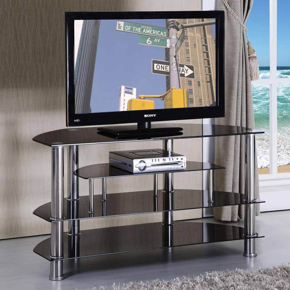 Console Cabinet Modern Tv Stand Entertainment Console Cabinet Black Glass