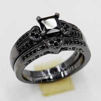 Nice Women Black Sapphire Black Gold Filled Engagement ...