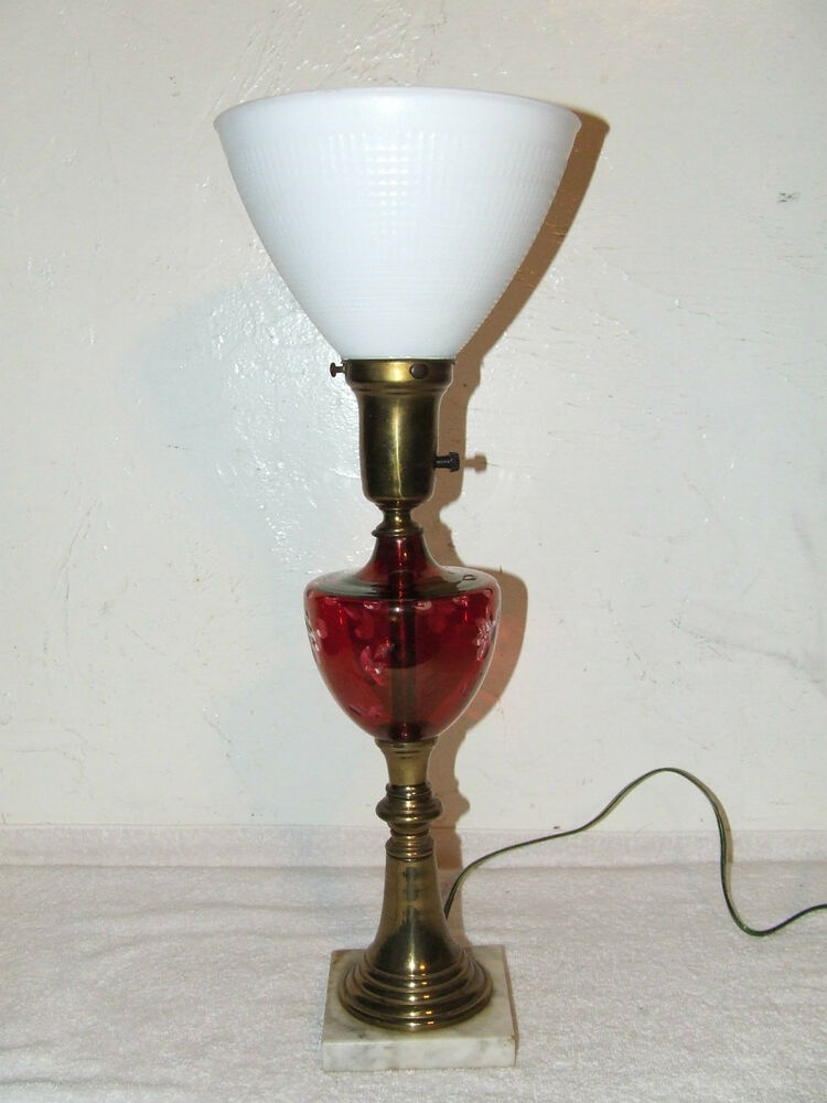 Antique Victorian Etched Cranberry Glass Font Table Lamp