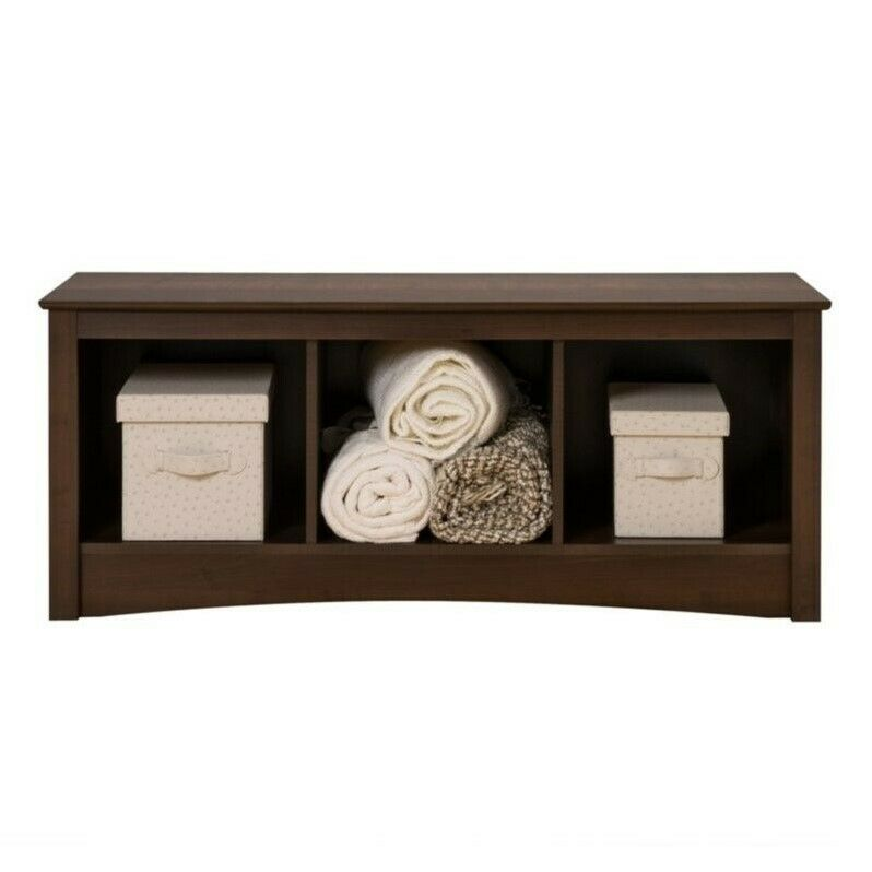 Prepac Fremont Espresso Cubbie Storage Bench Transitional