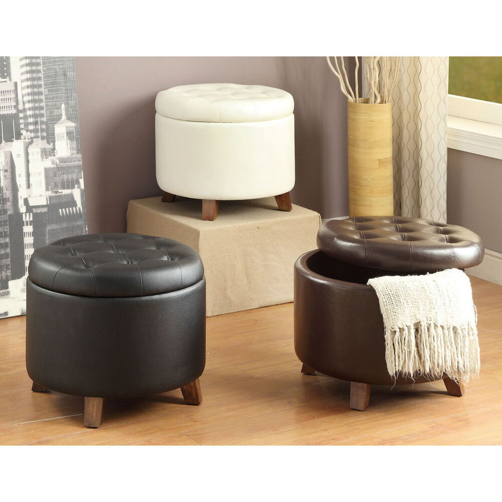 Ottoman Upholstery White Black Brown Removable Top Pu Leather Upholstery Round Storage Ottoman Ebay