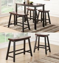 Espresso Rubber Wood Counter Height Table High Bench Set ...