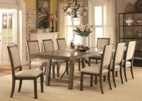 Dining Room Contemporary Rustic Oak 9p Dining Set Wooden ...