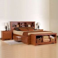 Prepac Monterey Cherry Queen Wood Platform Storage Bed 3