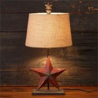 New Primitive Country RUSTIC BARN STAR LAMP Burlap Shade ...