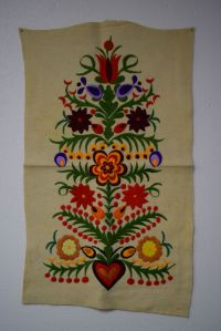 Vintage Hungarian Matyo Felt Embroidered Floral Folk Art ...