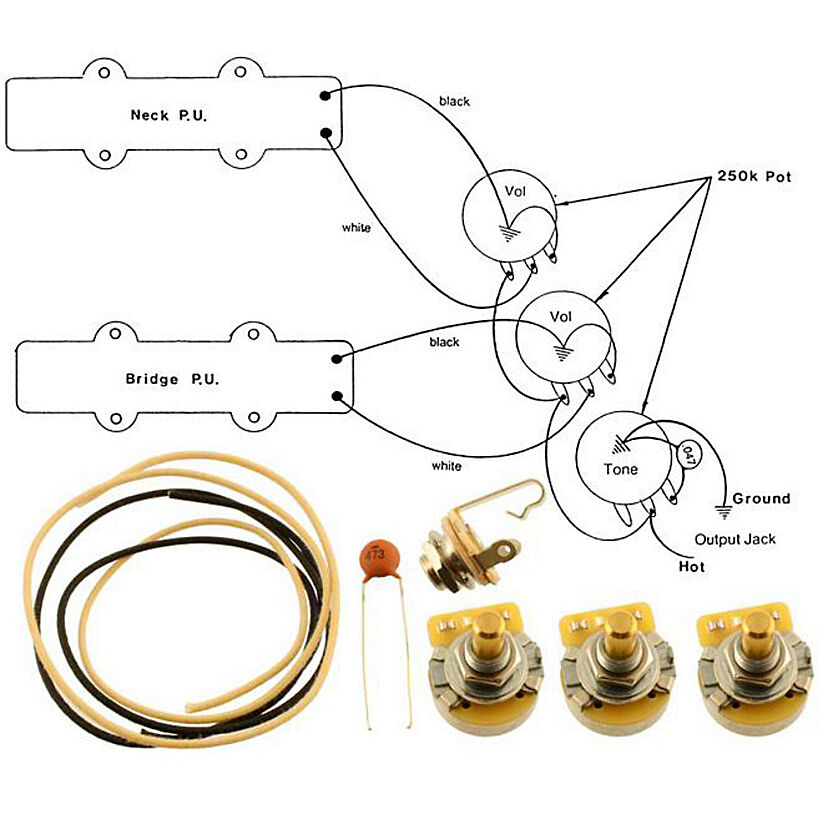 NEW - Wiring Kit for FENDER® JAZZ BASS COMPLETE w/ Diagram CTS
